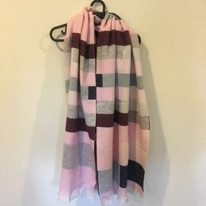 Talbots Accessories - Talbots blocked-stripe blanket wrap pink scarf